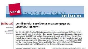 ver.di inform für Beamtinnen und Beamte - März 2021 - Teaserformat